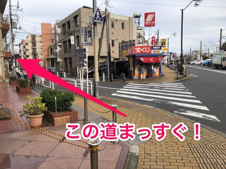 ほぐしわん整体院までの道のり。成増駅近くの宝くじ売り場の角を曲がります。